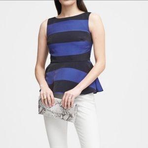 Banana Republic sleeveless peplum top/blue/black